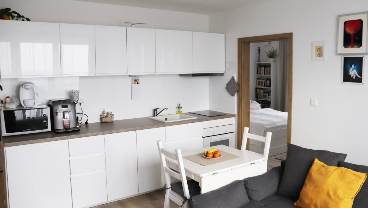 03 Miloslavov 2 izbovy byt s balkonom v novostavbe pohlad na kuchynsku linku a vstup do spalne
