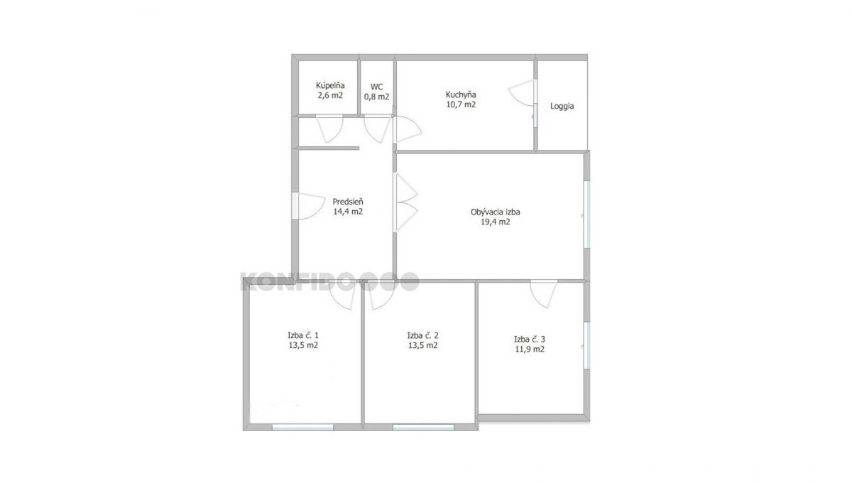 Petrzalka Hrobakova 4 izbovy byt na predaj podorys bytu