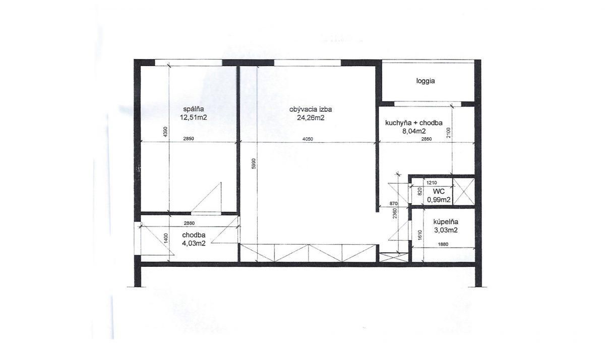 Senec Hurbanova AC podorys 2 izboveho bytu v povodnom stave priamo v centre mesta Senec Konfido