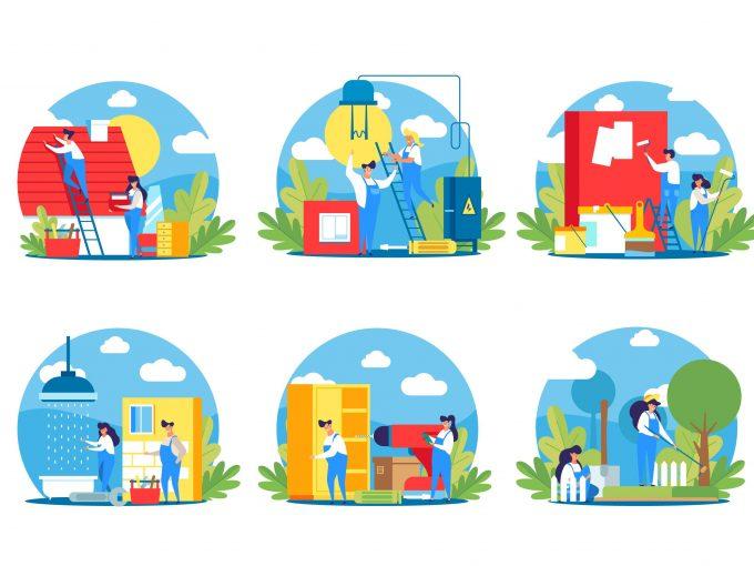 Ako predať dom, ilustrácie čistenie, upratvanie, oprava, malovanie domu