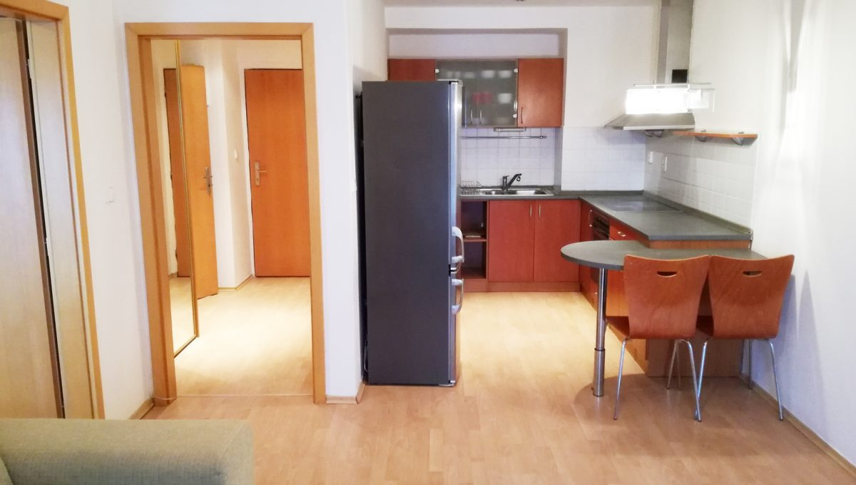 Bernolakovo-01-Obilna-ulica-mensi-2-izbovy-byt-na-prenajom-pohlad-na-zariadenu-kuchynu-a-vstupnu-chodbu-od-okna-obyvacej-izby