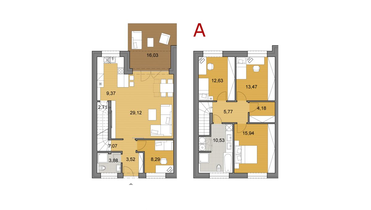 Bernolakovo 04 Konfido 5 izbovy rodinny dom na predaj podorys dvoch podlazi domu A