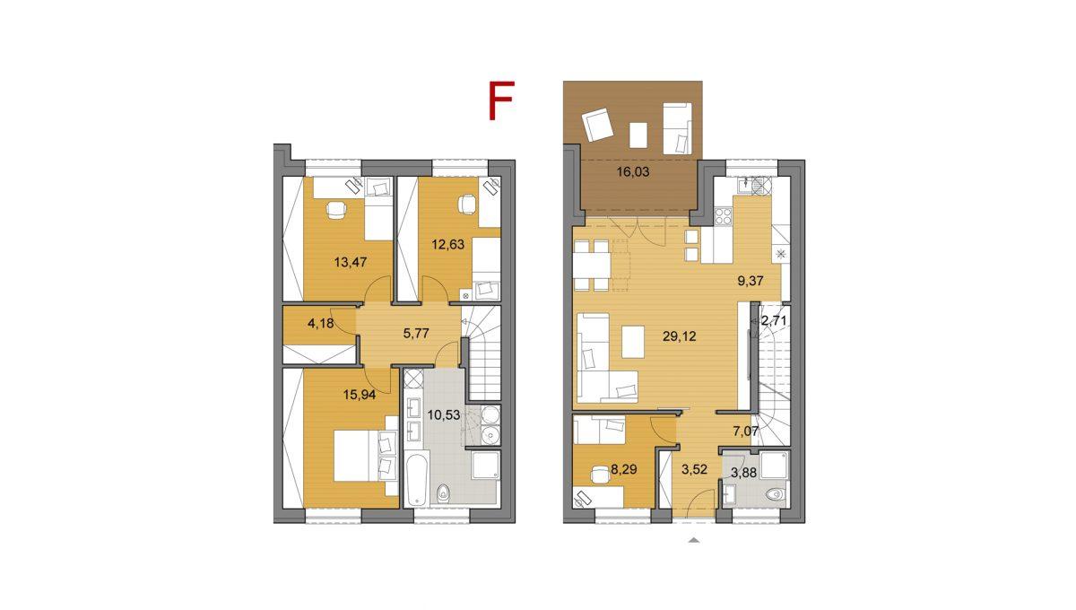 Bernolakovo 05 Konfido 5 izbovy rodinny dom na predaj podorys dvoch podlazi domu F