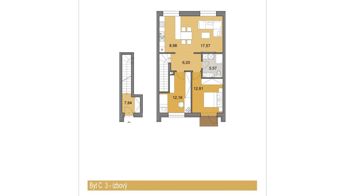 Bernolakovo 08 Konfido novostavba 3 izbovy byt na predaj podorys bytC