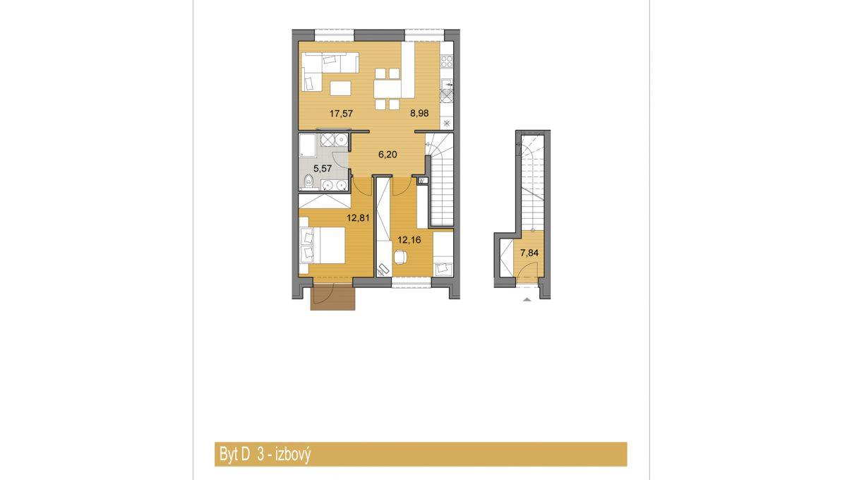 Bernolakovo 09 Konfido novostavba 3 izbovy byt na predaj podorys bytD