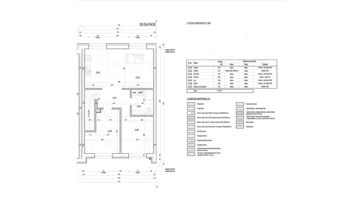 Bernolakovo 10 Konfido novostavba 3 izbovy byt na predaj podorys bytu s rozmermi