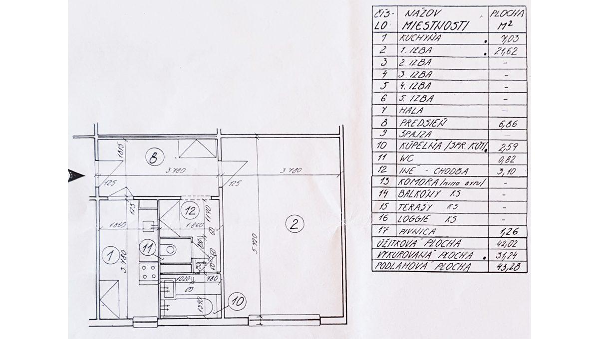 Bratislava 03 Ruzinov Jadrova 1 izbovy byt na prenajom podorys