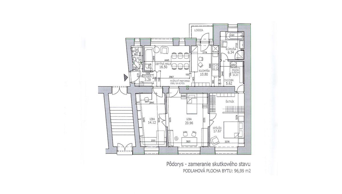 Bratislava 28 Stare Mesto velky 3 izbovy byt na prenajom podorys bytu