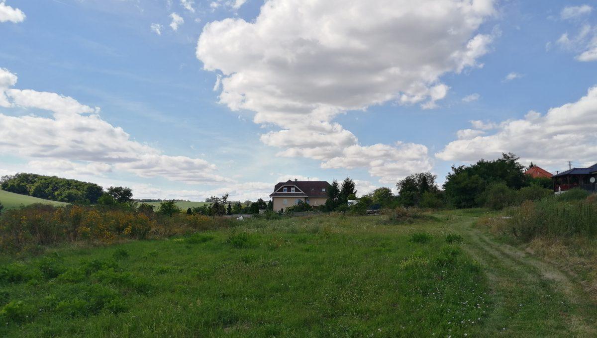 Dolne Otrokovce 07 velky pozemok uprostred obce cast Mlyn na predaj pohlad od skladu smerom na rozsiahly pozemok