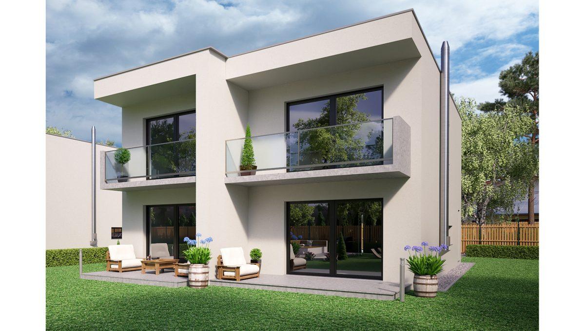 Hruba Borsa 01 Konfido predaj dvojdom novostavba 4 izbovy rodinny dom pri golfovom ihrisku vizualizacia zadna prava