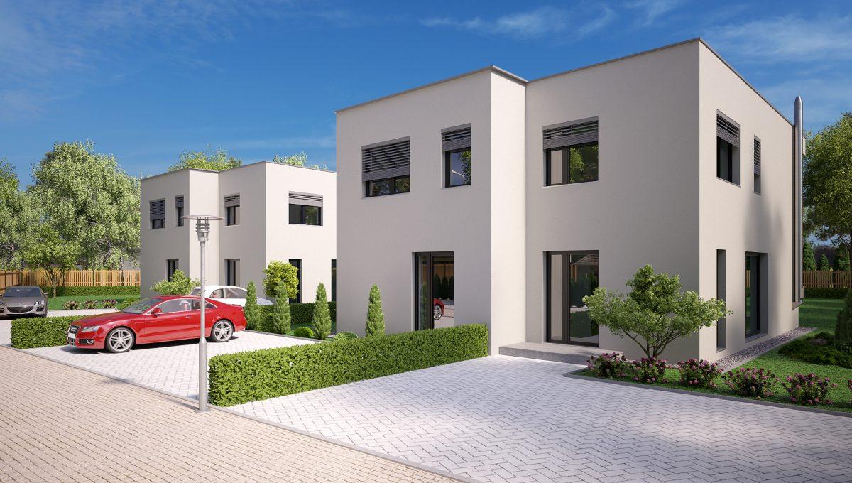 Hruba Borsa 02 Konfido predaj dvojdom novostavba 3 izbovy rodinny dom pri golfovom ihrisku vizualizacia spolu predna prava