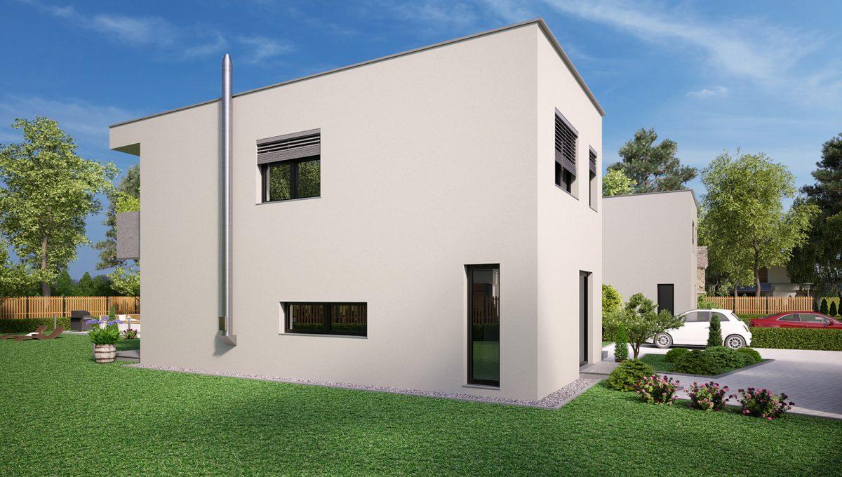 Hruba Borsa 03 Konfido predaj dvojdom novostavba 4 izbovy rodinny dom pri golfovom ihrisku vizualizacia predna lava strana