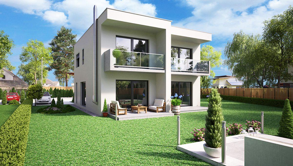 Hruba Borsa 04 Konfido predaj dvojdom novostavba 3 izbovy rodinny dom pri golfovom ihrisku vizualizacia zadna lava sirsi pohlad