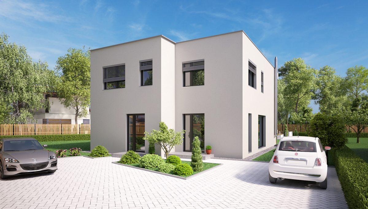 Hruba Borsa 04 Konfido predaj dvojdom novostavba 4 izbovy rodinny dom pri golfovom ihrisku vizualizacia spolu predna
