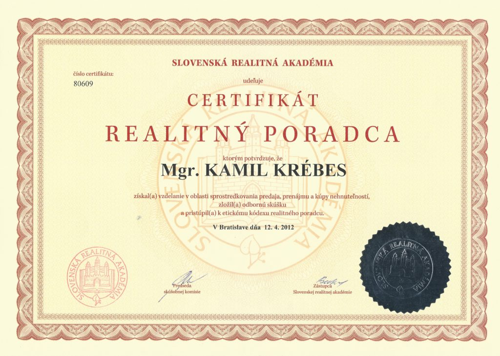 Certifikát realitný poradca Kamil Krébes