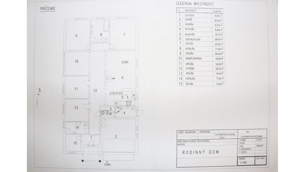 Nova Dedinka 12 krasny 5 izbovy rodinny dom na predaj s velkym pozemkom pohlad na podorys rodinneho domu