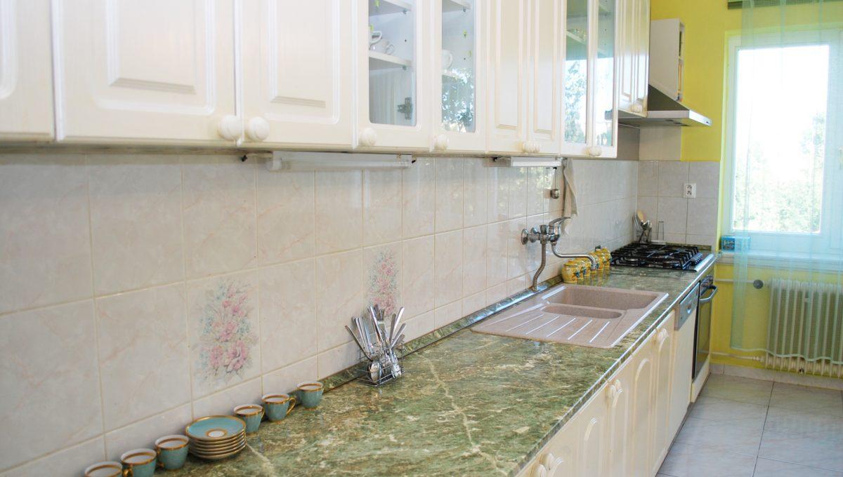 Olca 19 okres Komarno velka rodinna vila s velkym pozemkom a jazierkom pohlad na pracovnu dosku kuchynskej linky v kuchyni na poschodi