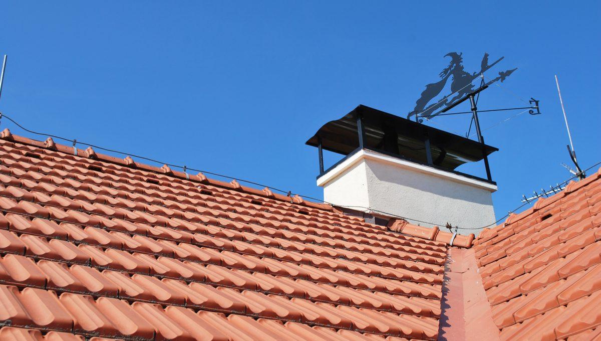 Olca 30 okres Komarno velka rodinna vila s velkym pozemkom a jazierkom pohlad na cast strechy a komin