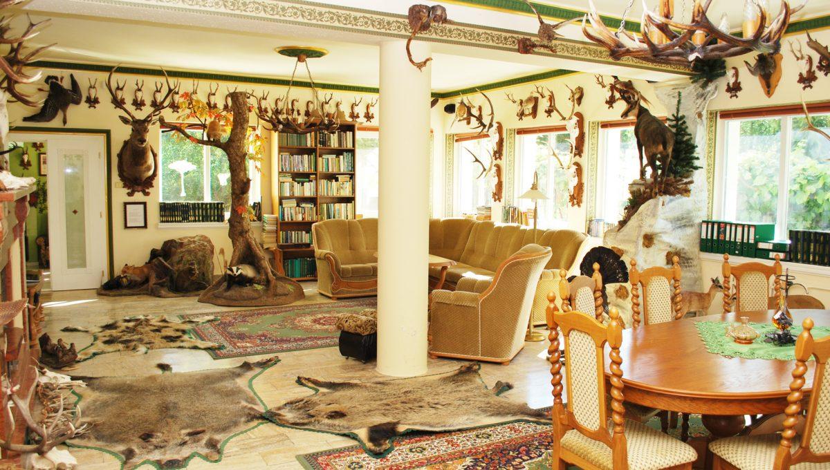 Olca 35 okres Komarno velka rodinna vila s velkym pozemkom a jazierkom pohlad na obyvacku alebo velku spolocensku miestnost na prizemi