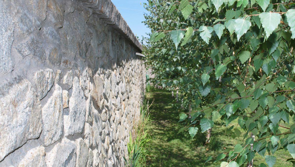 Olca 57 okres Komarno velka rodinna vila s velkym pozemkom a jazierkom kamenny mur oddeluje pozemok pri dome vile od ostatneho sveta