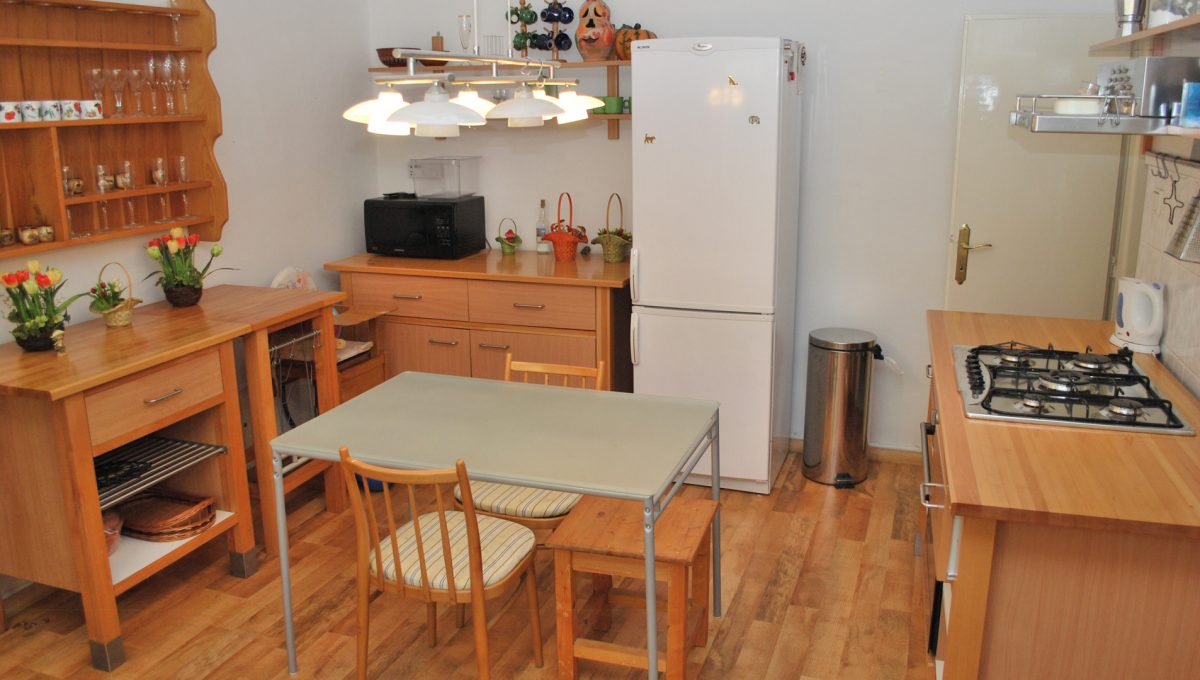 Olca 58 okres Komarno velka rodinna vila s velkym pozemkom a jazierkom pohlad na kompletne vybavenu kuchynu apartmanovy domcek s tromi apartmanmi