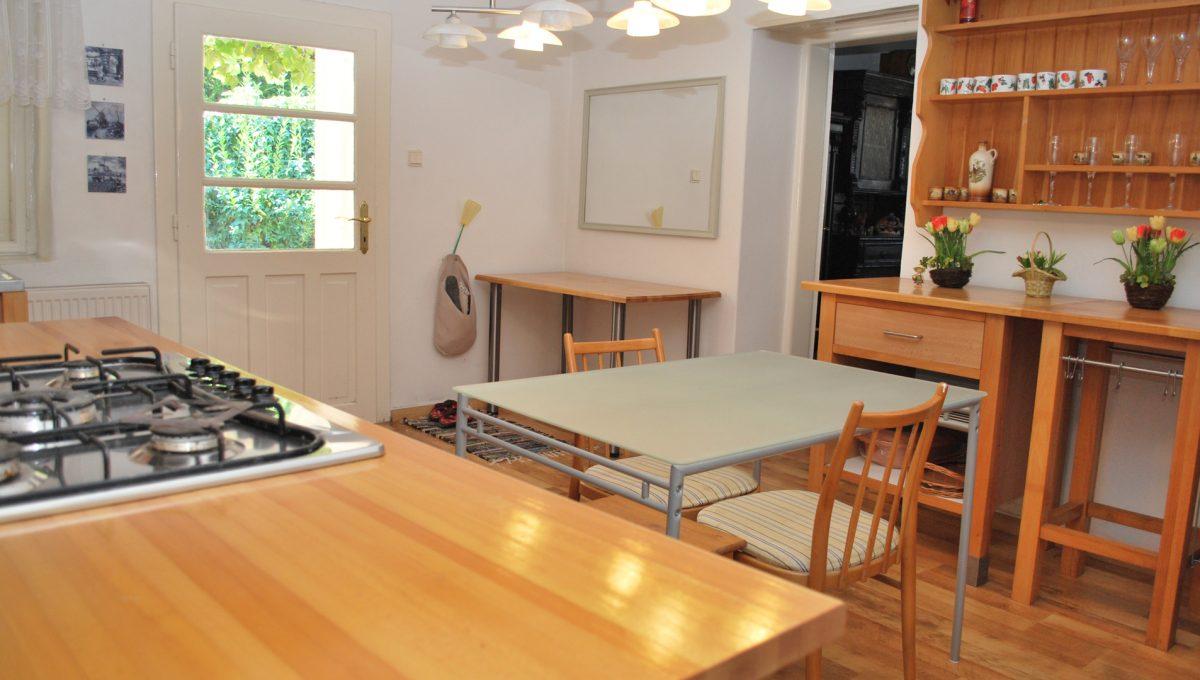 Olca 59 okres Komarno velka rodinna vila s velkym pozemkom a jazierkom pohlad na kompletne vybavenu kuchynu apartmanovy domcek s tromi apartmanmi