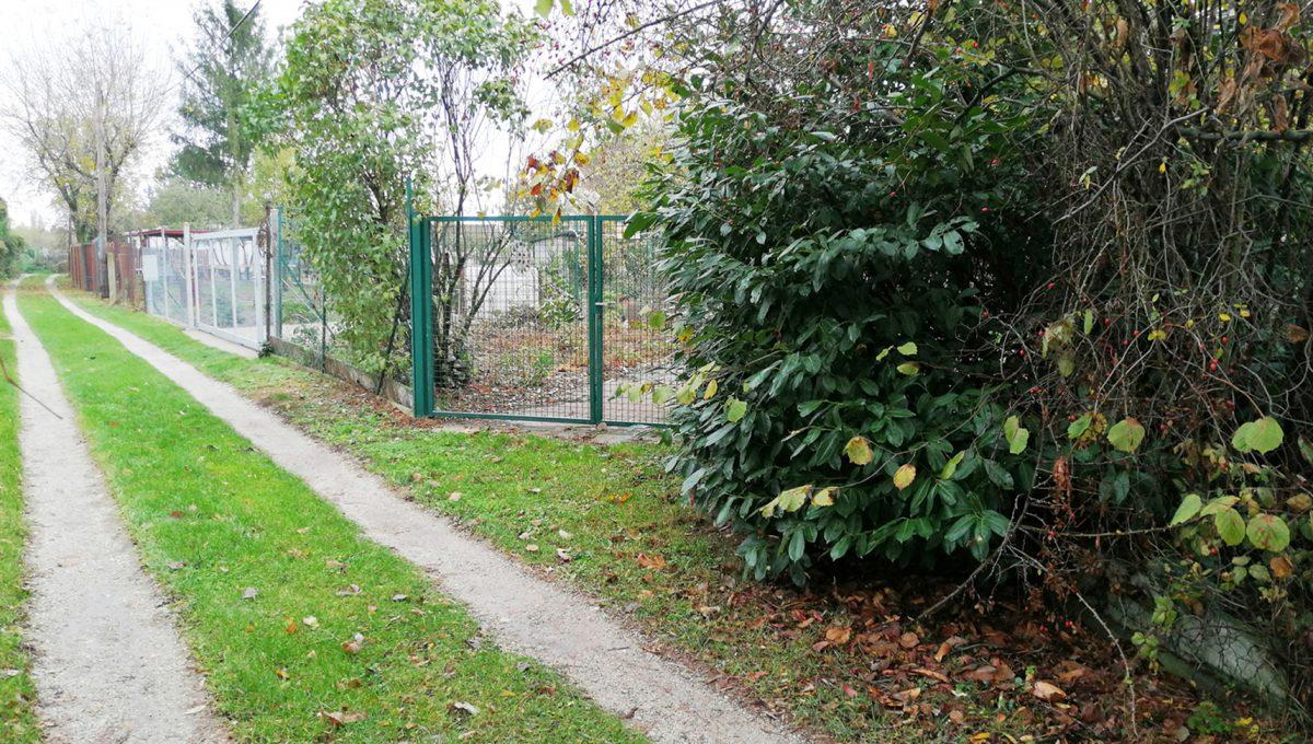 Podunajske Biskupice 10 Bratislava zahrada pohlad na vstup na pozemok s castou pristupovej spevnenej cesty