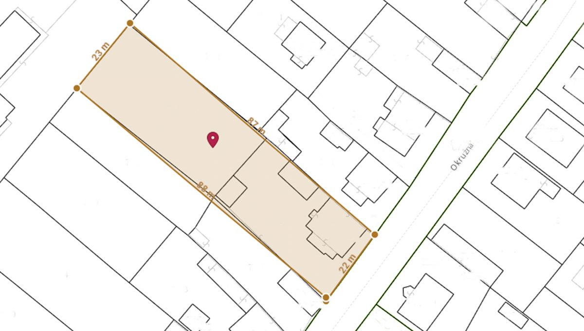 Rovinka 05 Okruzna pozemok s rozlohou 1917 m2 mapka s rozmermi stran pozemku