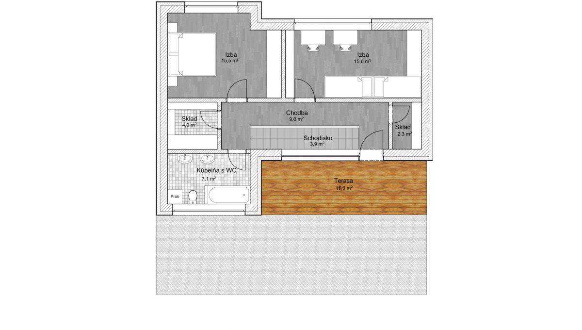 Senec 04 Konfido 4 izbovy rodinny dom na predaj holodom podorys prve podlazie volny