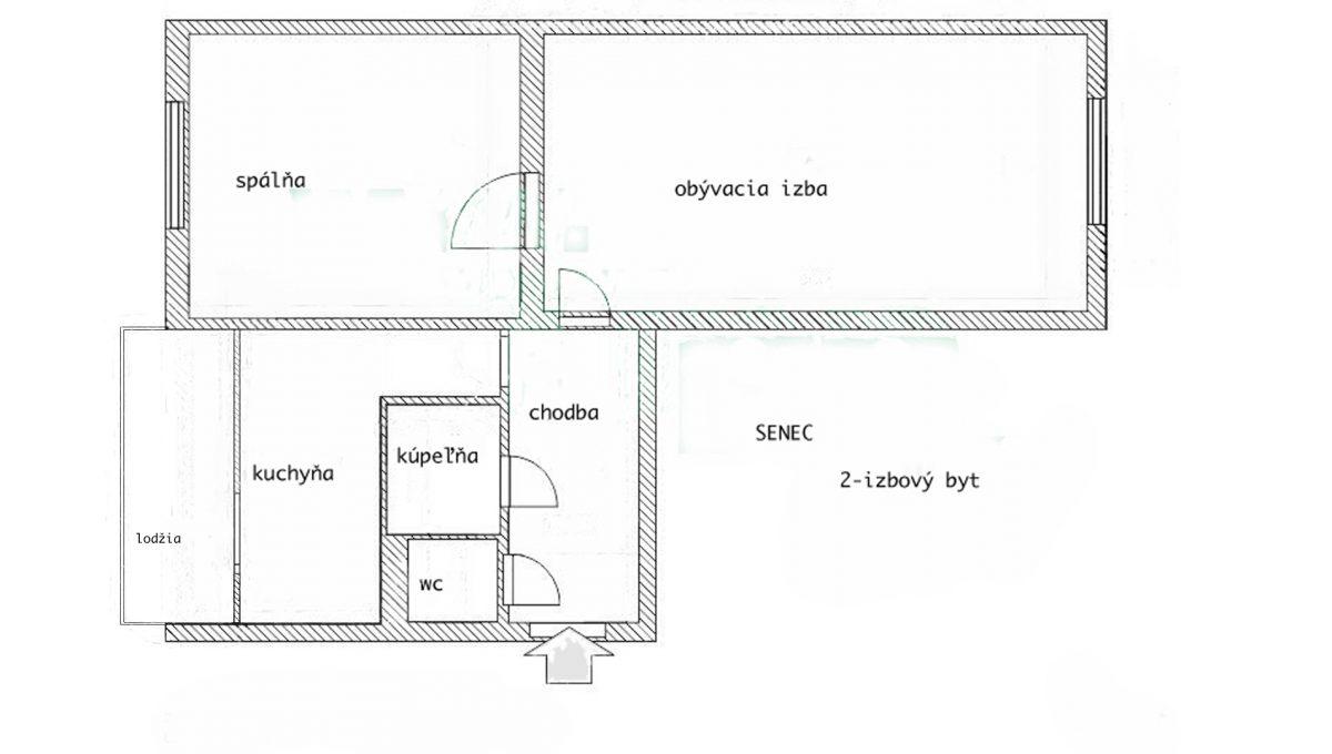 Senec 10 Inovecka 2 izbovy byt na predaj podorys bytu