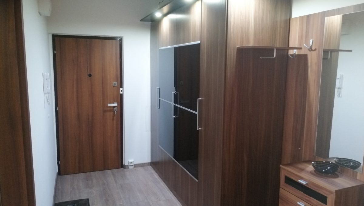 Senec 10 Namestie 3 izbovy byt na prenajom pohlad na vstup do bytu a chodbu s odkladacou skrinou