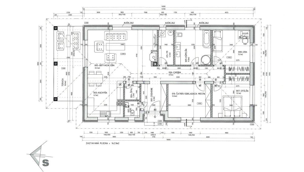 Senec 30 Boldocka nadstandardna ponuka dvoch rodinnych domov s bazenom v centre mesta dom predny podorys