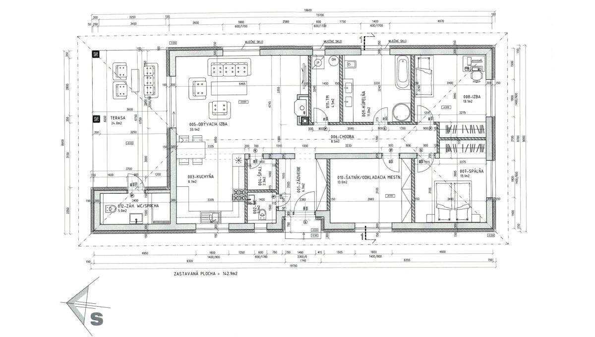 Senec 32 Boldocka nadstandardna ponuka dvoch rodinnych domov s bazenom v centre mesta dom zadny podorys