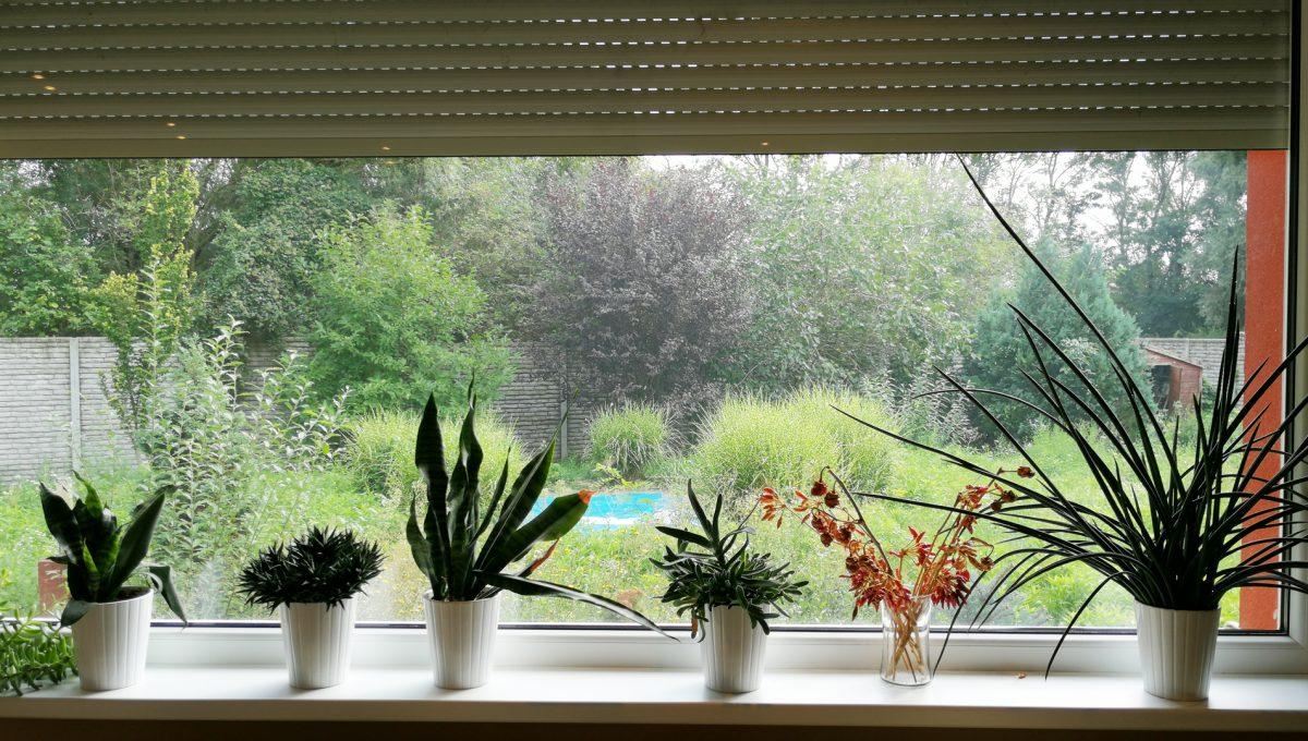 Turen 04 na predaj 6 izbovy rodinny dom pohlad na velke okno s elektronickou zaluziou v obyvacej izbe s vyhladom do zahrady