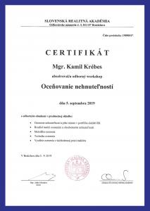 Certikát Mgr. Kamil Krébes, Oceňovanie nehnuteľností