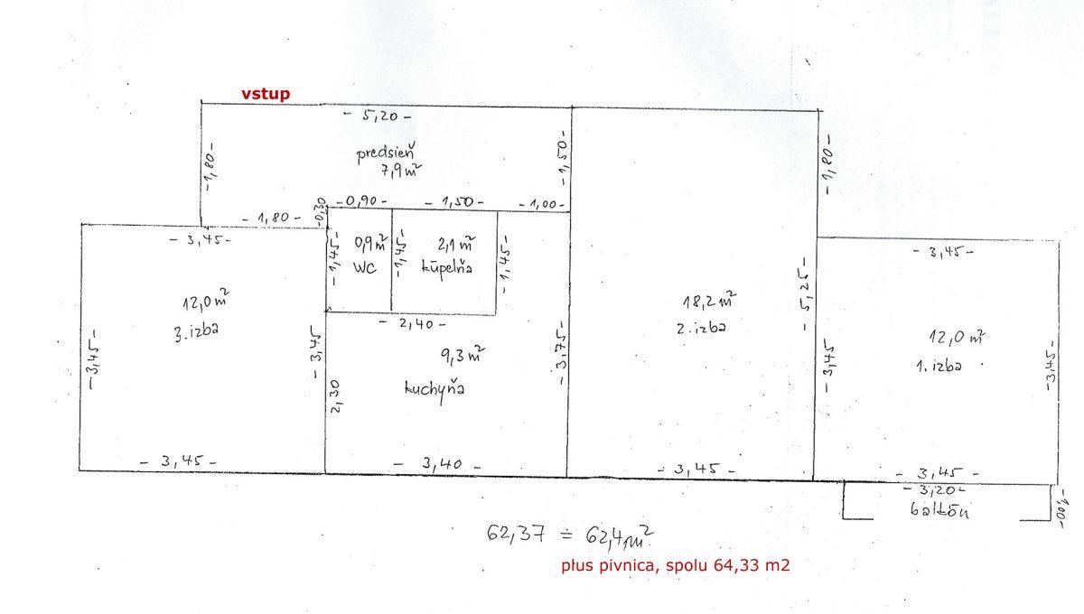 Zvolen 02 na predaj 3 izbovy byt ulica Janka Krala podorys bytu